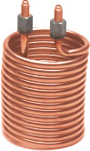 copper helical coil with end fixture